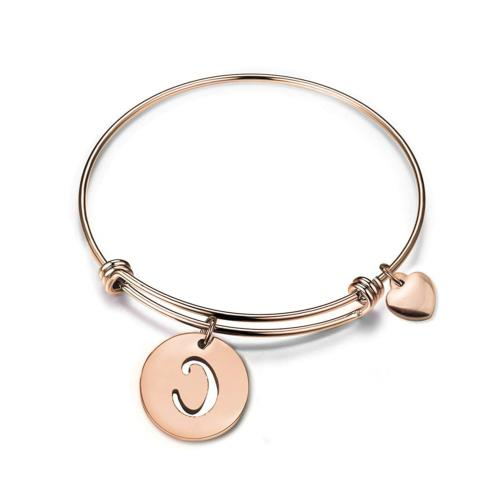 Zuo Bao Rose Gold Initial Disc Expandable Wire Bracelet Bang
