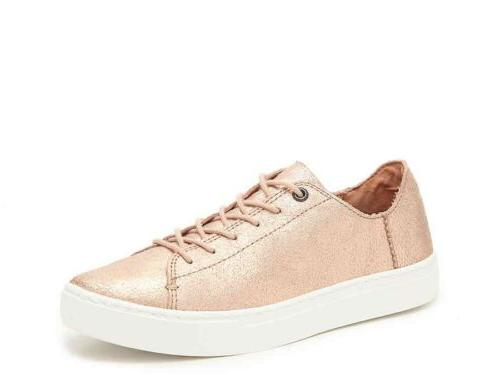 Toms Rose Gold Metallic Leather Lenox Sneakers Shoes Style 1