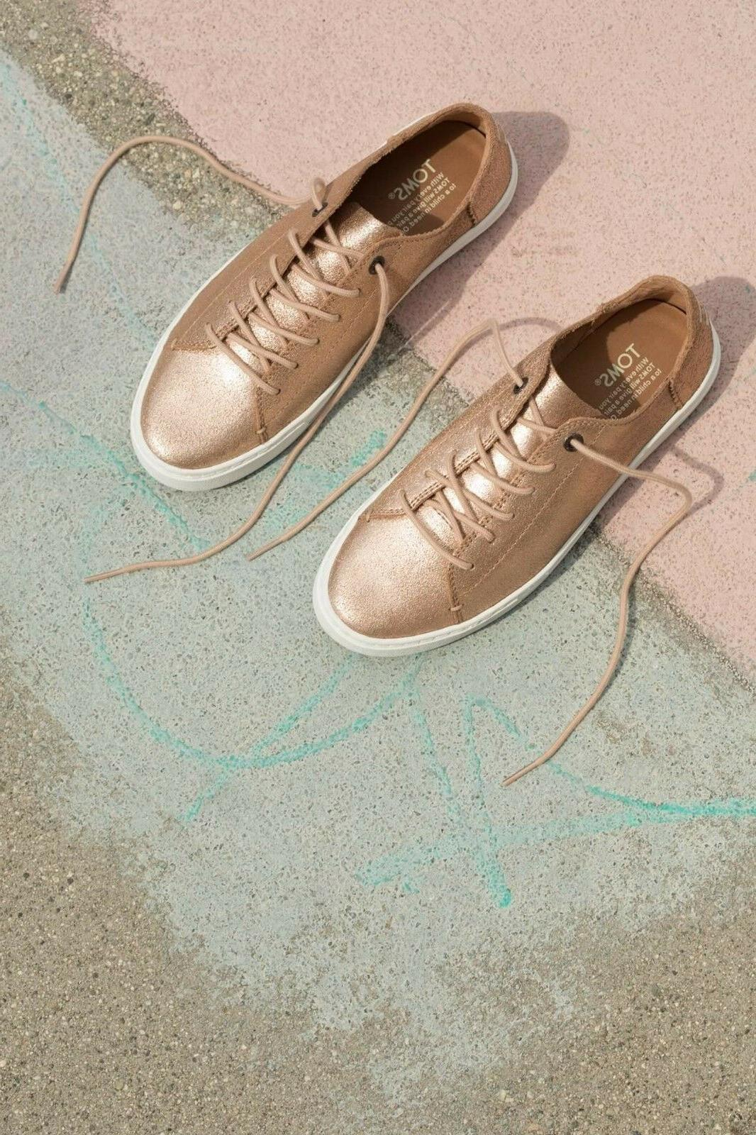 TOMS Rose Gold Metallic Leather Lenox Sneakers Shoes. Style: