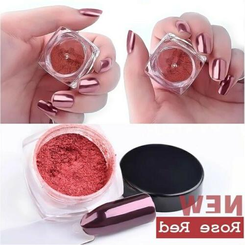 Rose Gold Metallic Magic Mirror Chrome Effect Dust Nail Powd