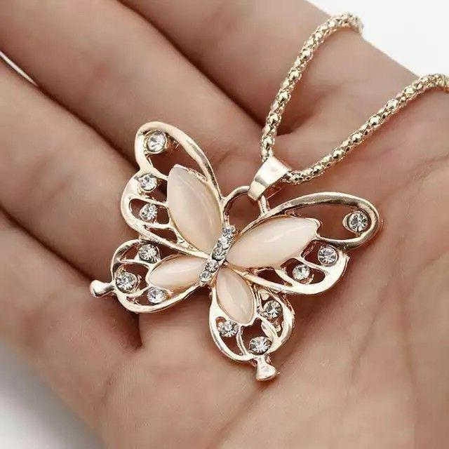 Rose Gold Opal Butterfly Necklace for Girls Birthday