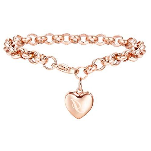rose gold personalized initial bracelets for women