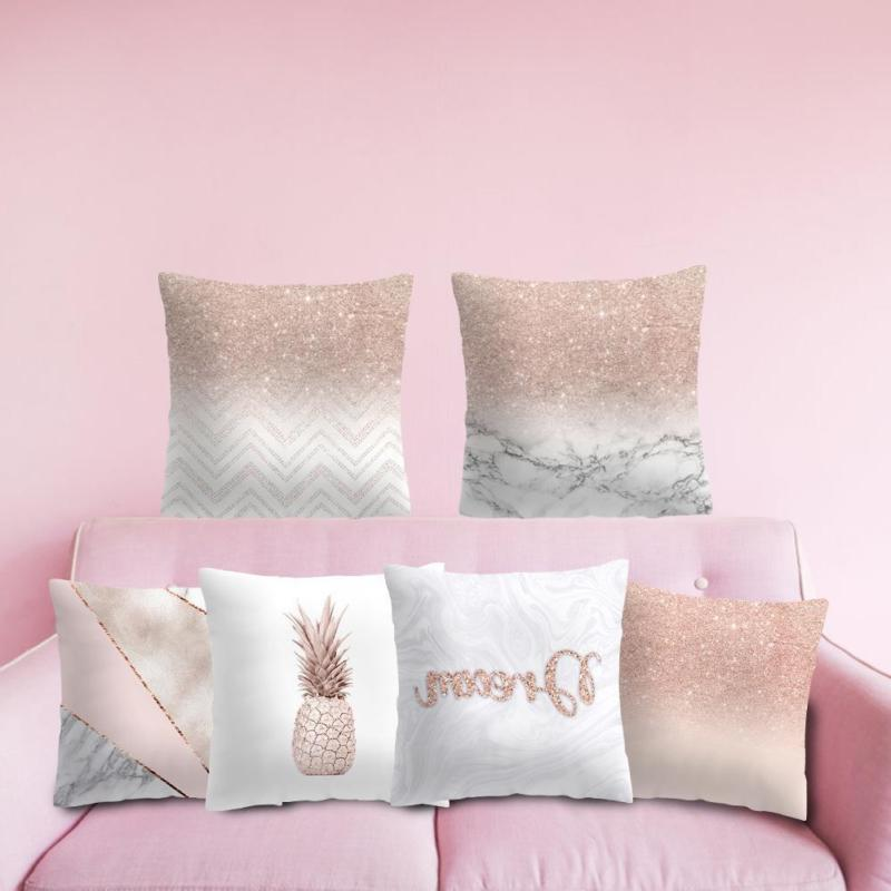Rose Gold Pillow Case Polyester Sofa Throw Cover Decor