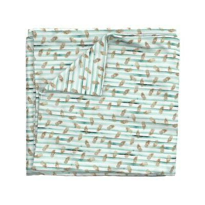 Rose Pineapples Mint Stripe Watercolor Sateen Duvet Cover by