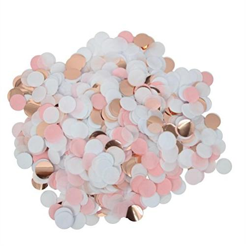 rose gold pink confetti wedding table scatter