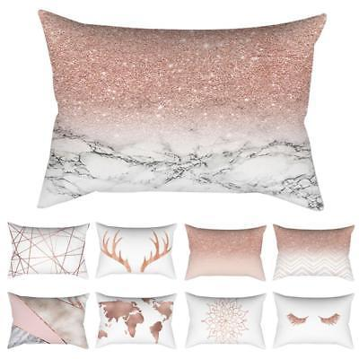 rose gold pink cushion cover glitter long
