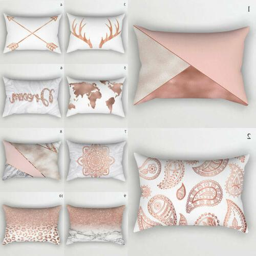 Rose Gold Pink Cushion Cover Waist Home Bedding Decor