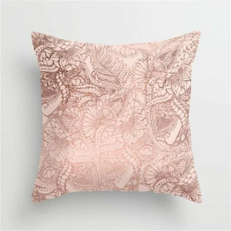 Rose Pink Throw Pillow Cases Cushion Bedroom Home Bed Decor