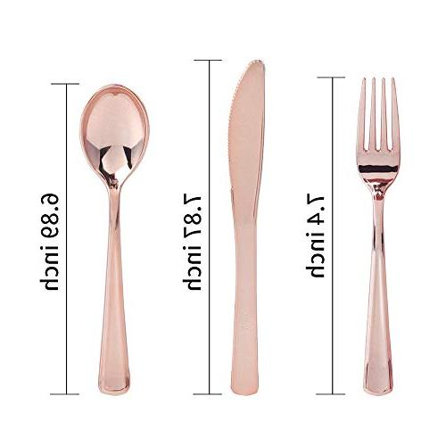 Plastic Disposable Flatware Set-Heavyweight Plastic Cutlery- 100 Forks, 100 100 Knives