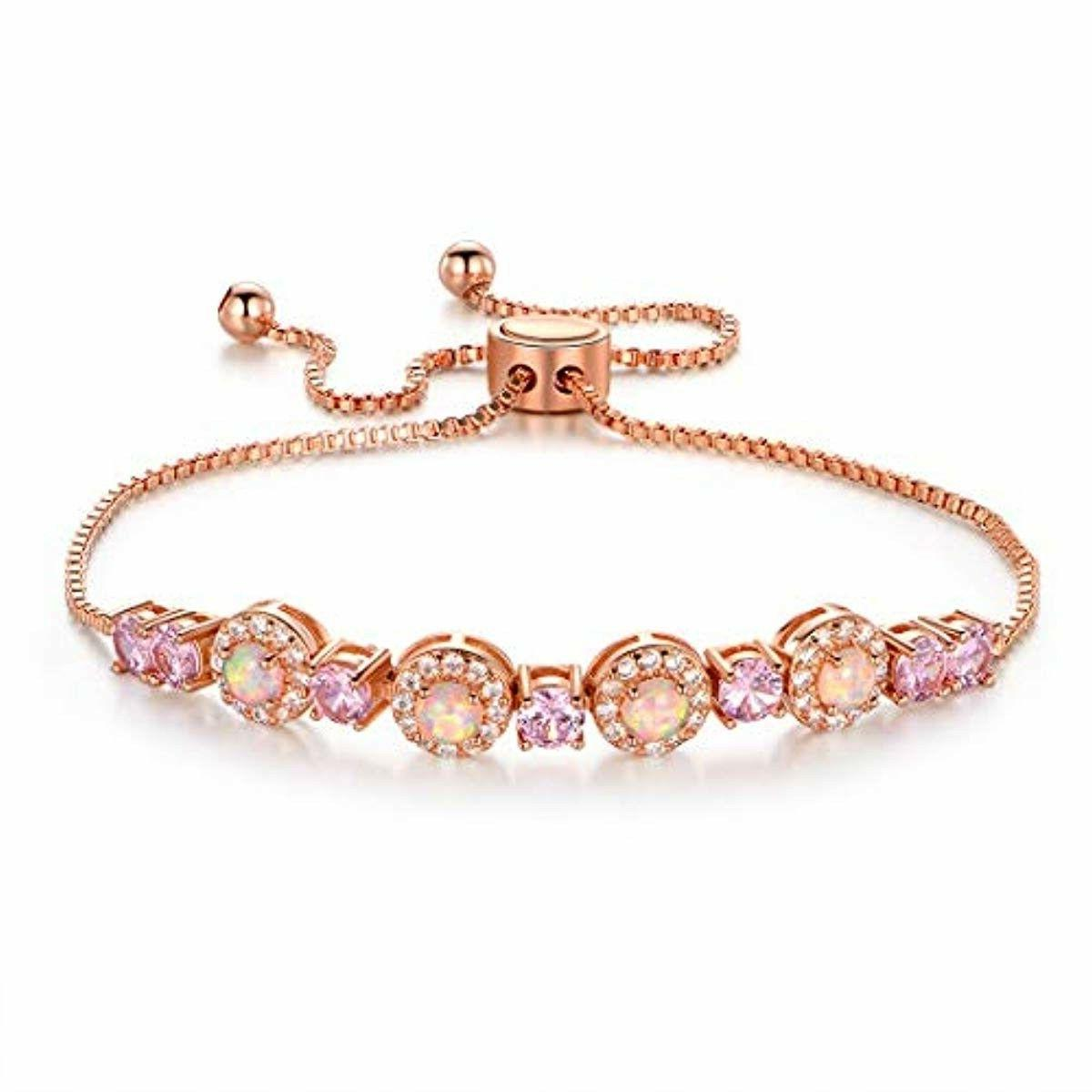 rose gold plated adjustable opal cz tennis
