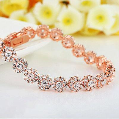 Rose Plated Round AAA Cubic Bracelet