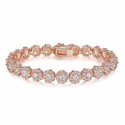 rose gold plated brilliant round cut 7mm