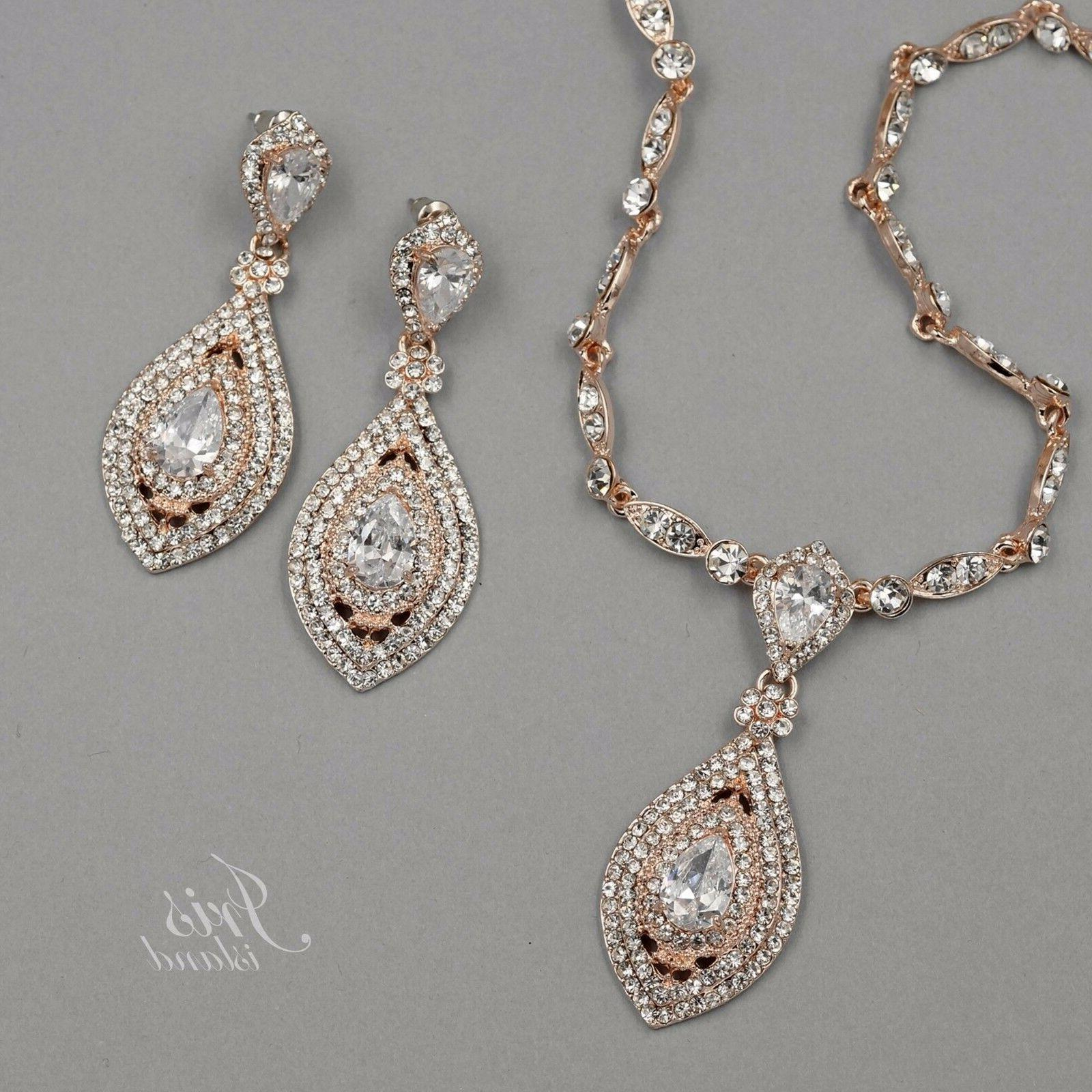 rose gold plated crystal cz necklace pendant
