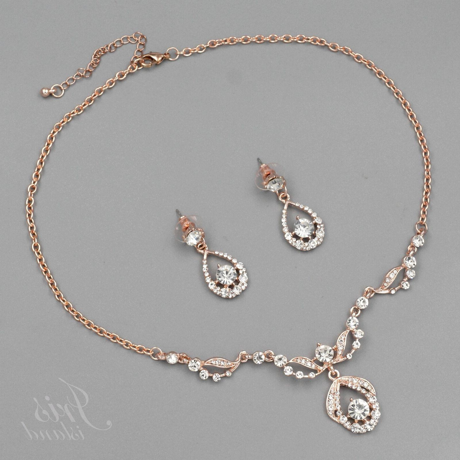 rose gold plated crystal rhinestone necklace earrings