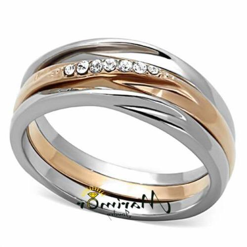 ROSE GOLD PLATED STAINLESS STEEL 3 PIECE WEDDING RING SET WO