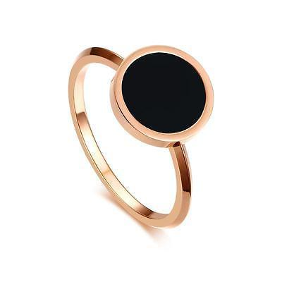 Rose Gold Round Enamel Wedding Band Women's Stainless Steel