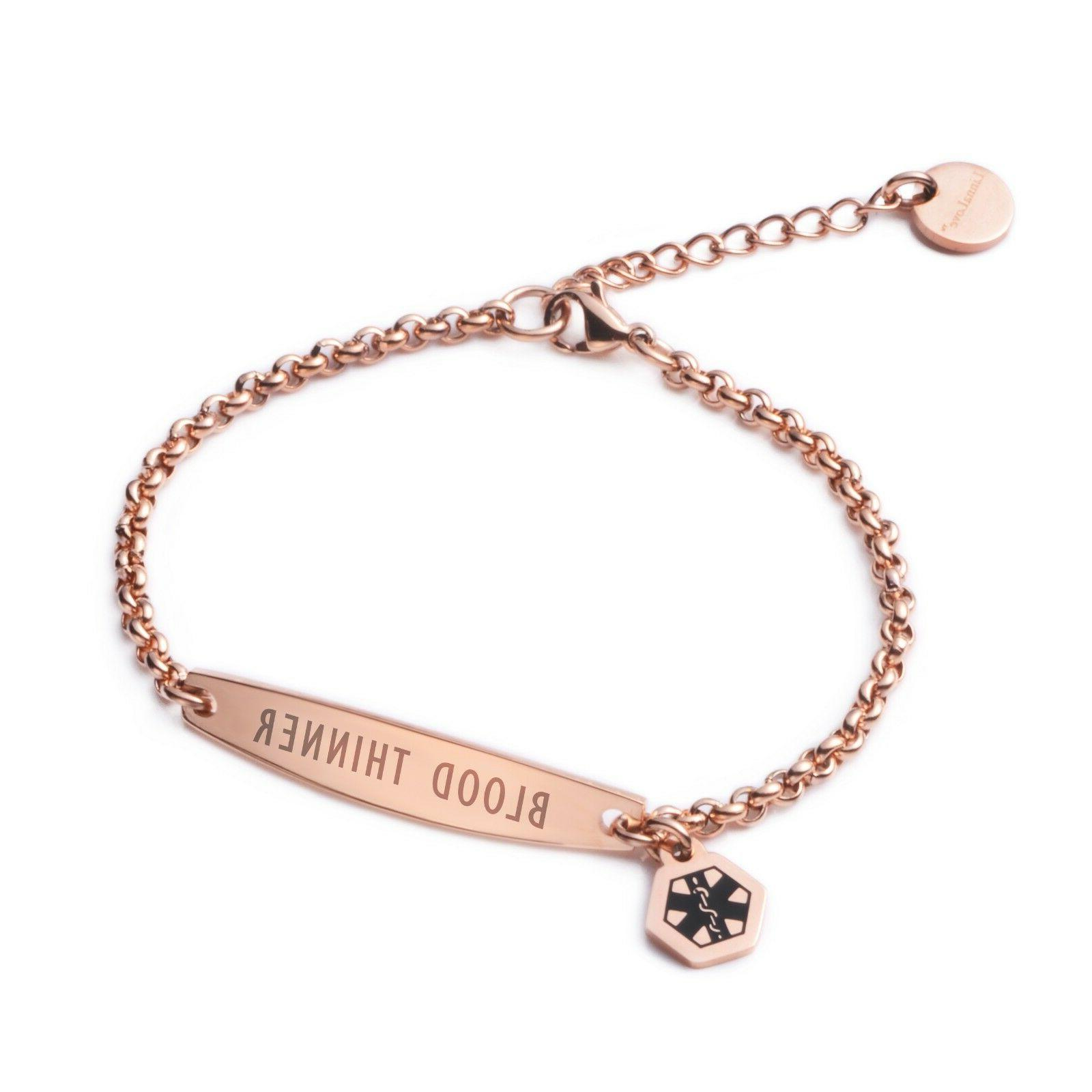 rose gold simple rolo chain medical id
