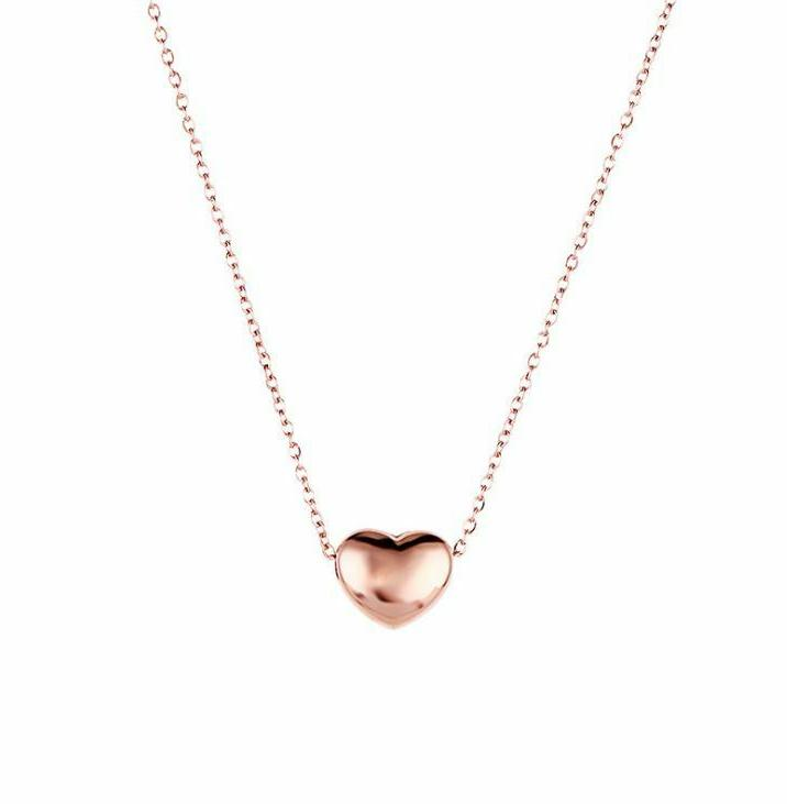 Rose Gold Stainless Puff Heart Necklace PE22