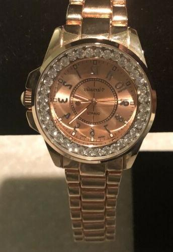 rose gold tone crystal accent bracelet watch