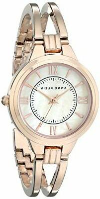 Anne Klein® Rose Goldtone Open Bangle Bracelet Watch