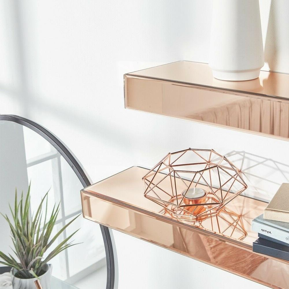 Beautify Rose Gold Mirrored Shelves – Display