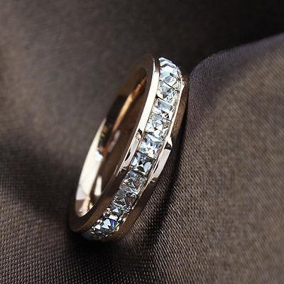 Silver/Rose Gold CZ Titanium Steel Ring Men/Womens Stainless