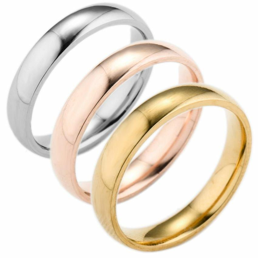 silver rose gold gold stainless steel wedding