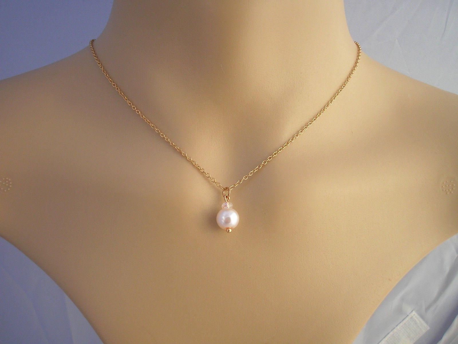 Single Pearl on Rose Gold chain Necklaces for Women Girls La