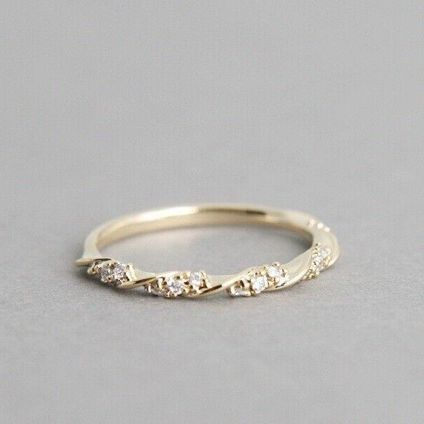 Size 5-10 Gold Inlaid Crystal Rings Wedding Party Gift