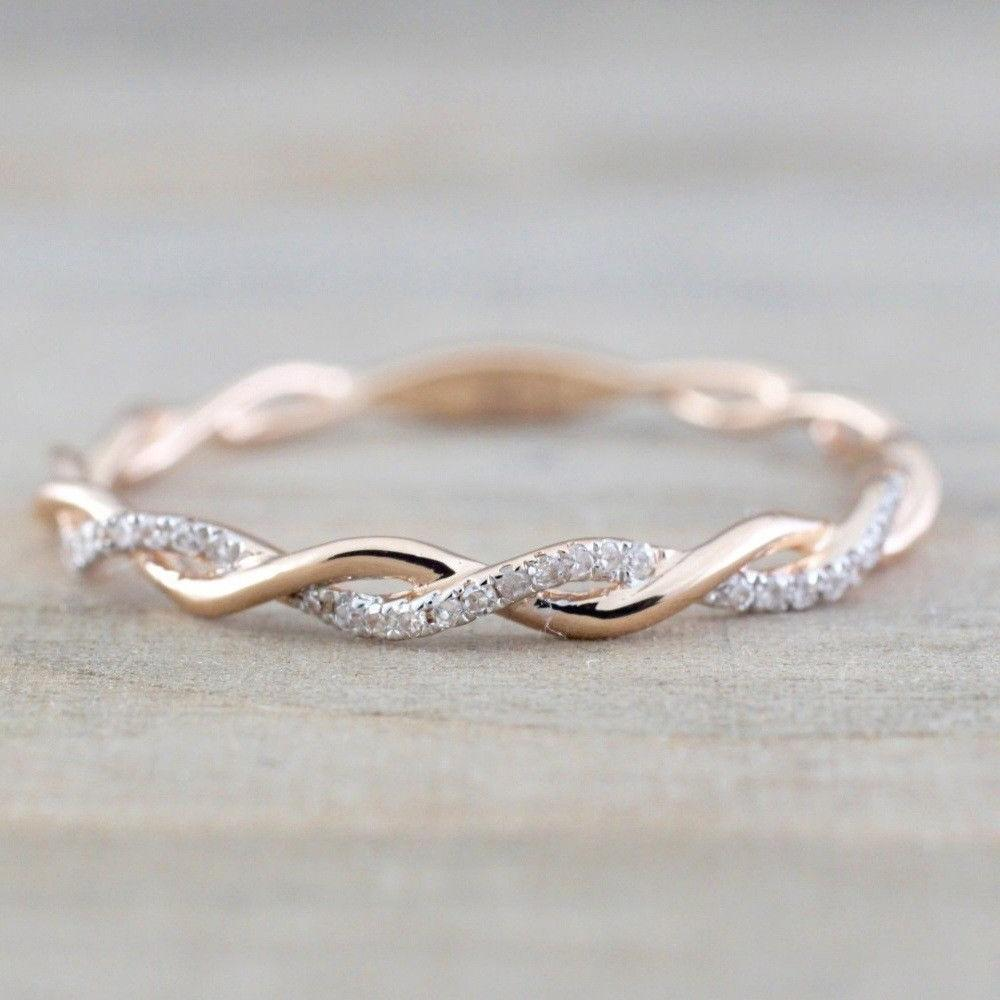 Size Gold Inlaid Crystal Rings Wedding Party Jewelry Gift