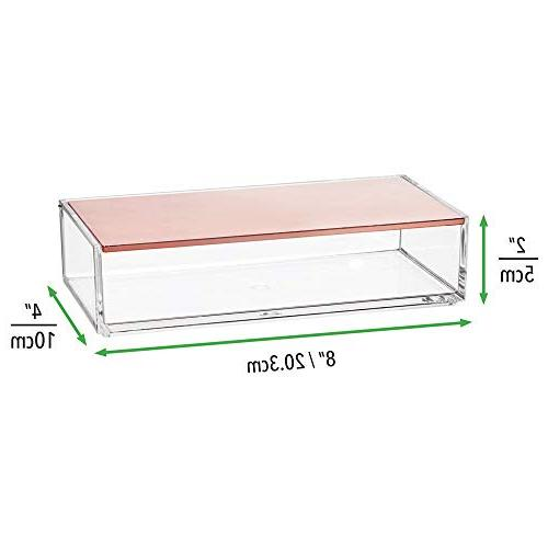 mDesign Makeup Box for Cabinet Eye Palettes, Lip - Plastic, Clear/Rose Gold