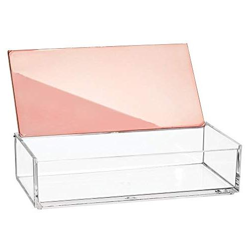 mDesign Makeup Organizer Box with for Countertops, - Brushes, Lip Gloss, Blush, - Clear/Rose