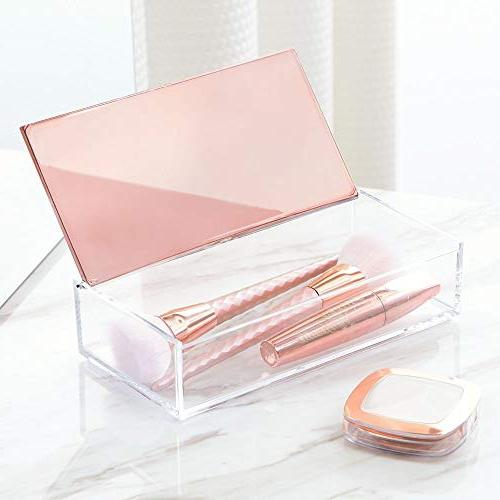 mDesign Small Makeup Box with Decorative - Store Brushes, Eye Lipstick,