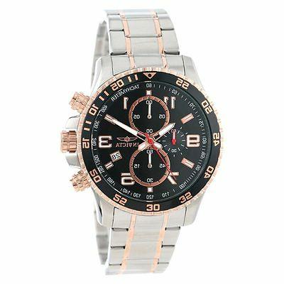 Men's Specialty Chronograph Black Textured Dial & Rose Plated Steel