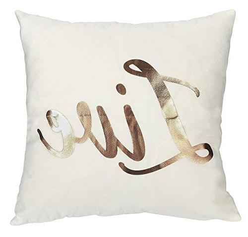 Juvale - Pillow Cases Laugh Love Dream Gold Prints Home DecorCushion Covers, White, x 17 inches