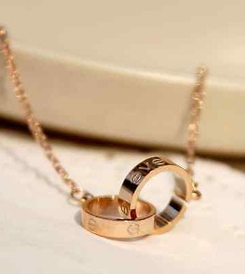 Titanium Steel Rose Gold Ring Pendant Box PE11