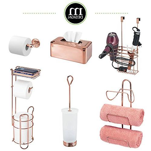 mDesign Metal Wire Stand and Storage Shelf Cell, Mobile Phone Storage Organization 3 Rolls Rose