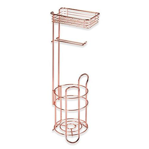 mDesign Freestanding Toilet Paper Stand with Storage Shelf Mobile Storage - 3 Mega Rolls - Rose Gold