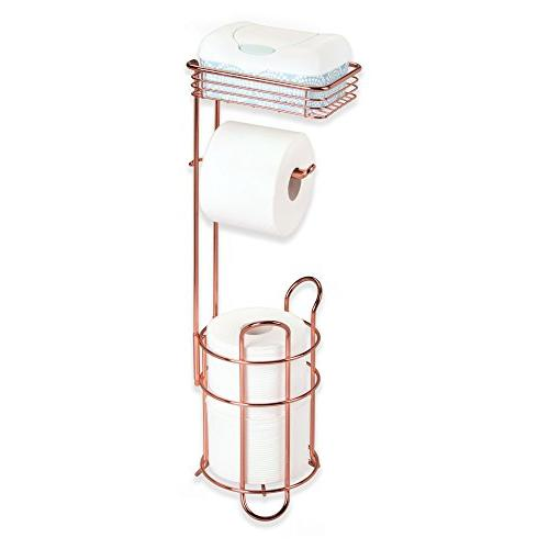 mDesign Freestanding Metal Toilet Paper Roll Stand and with Storage Cell, Mobile Phone - Storage Organization - 3 Rolls Rose