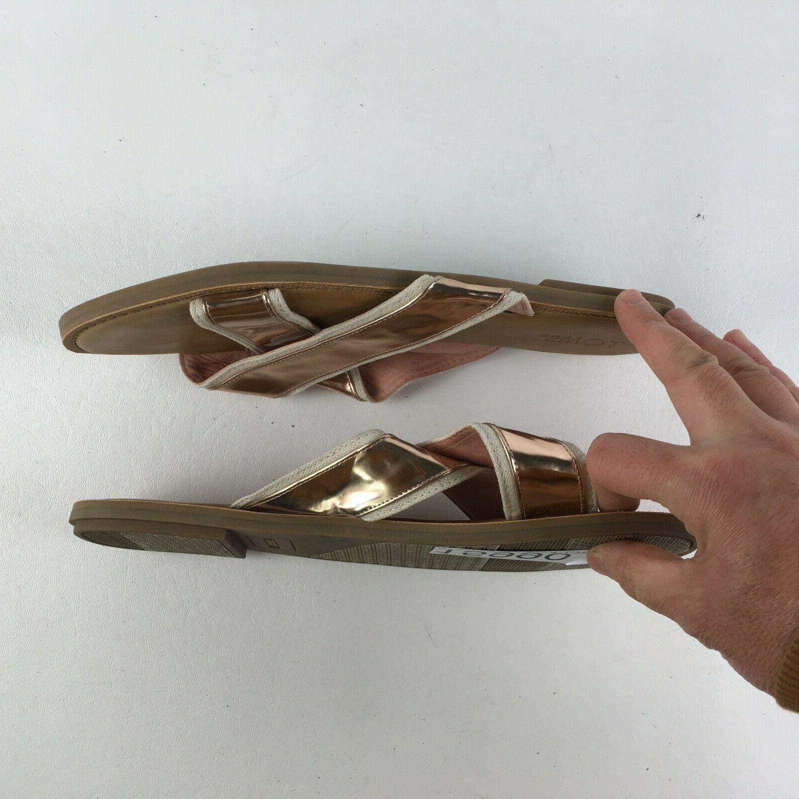 Toms Womens Gold Sandals 9 T315990