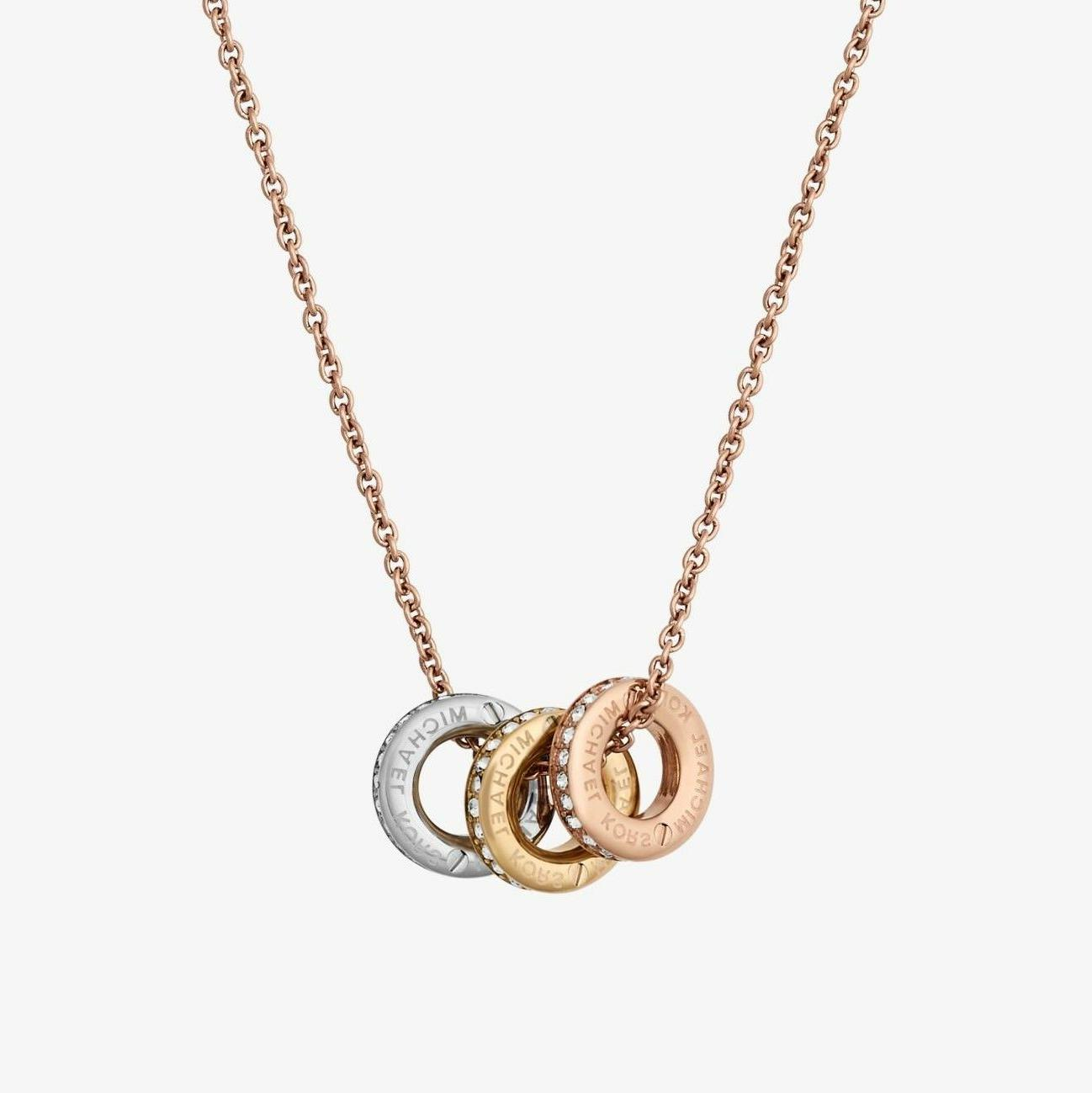 tri tone logo rose gold plated crystal
