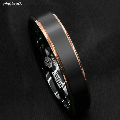 Tungsten Carbide ring rose gold brushed Band Ring