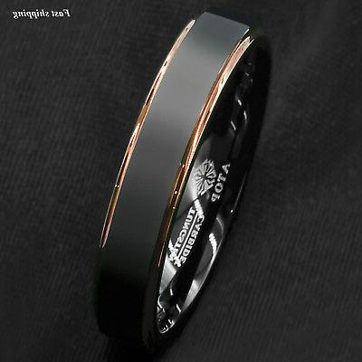 Tungsten Carbide ring gold Band Ring men's jewelry