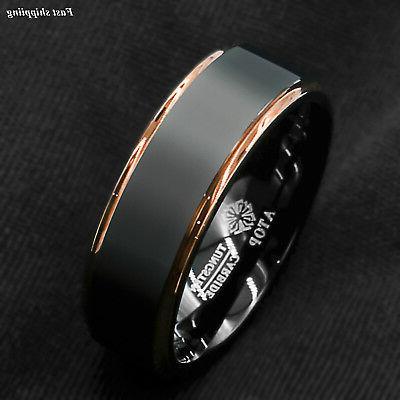 tungsten carbide ring rose gold black brushed
