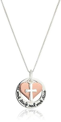 """Two-Tone Sterling Silver and Rose Gold-Flashed """"Faith Hope L"""