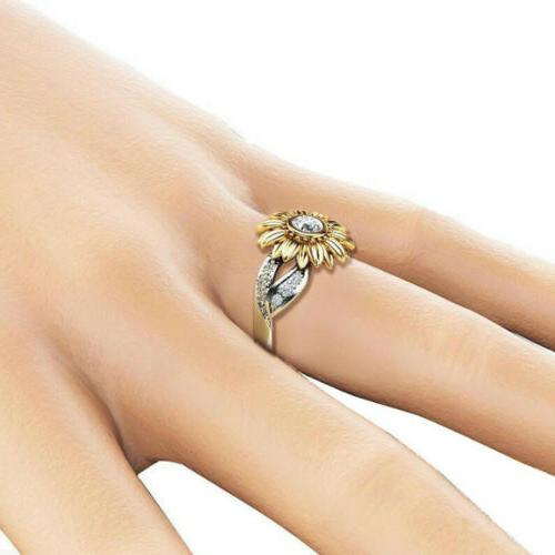 USA Women Sunflower Rose Gold Ring Plated Zircon Wedding
