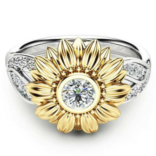 USA Women Sunflower Silver Rose Gold Ring Zircon Promise Wedding Jewelry