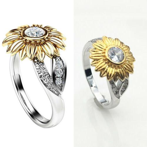 USA Sunflower Silver Rose Gold Zircon Promise Wedding