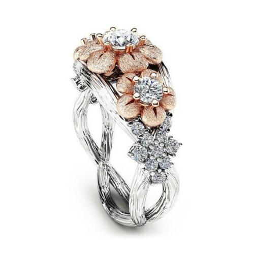 USA Sunflower Rose Ring Plated Zircon