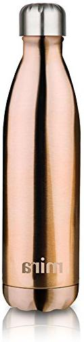 MIRA Vacuum Travel Water Bottle Double Stainless Steel Cola Shape Sports Bottle No Sweating, Keeps Your & Cold Oz Rose